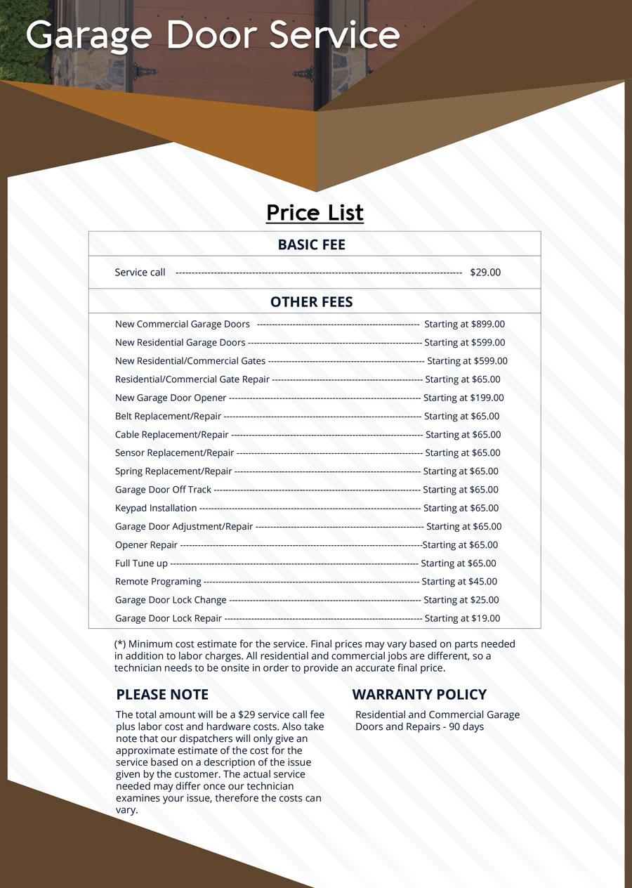 Price List Sos Garage Doors